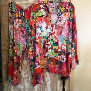 Natori Pajama Set Kimono Style Drawstring Waist